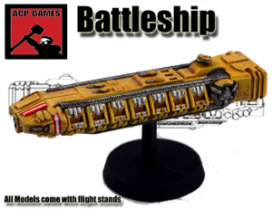 A Terran Battleship with spine mounted M.A.C. Cannon